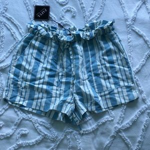 White & blue striped drawstring shorts